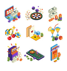 casino online isolated icons poker and slot vector image