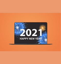 christmas fireworks on laptop screen happy new vector image