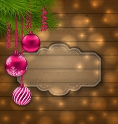 Christmas Label with Balls and Fir Twigs vector image