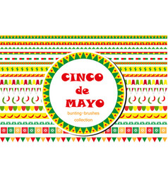 Cinco de mayo celebration set of borders vector