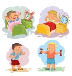 Clip art of little children wake up vector
