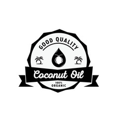 Coconut oil logo with oil drop vector