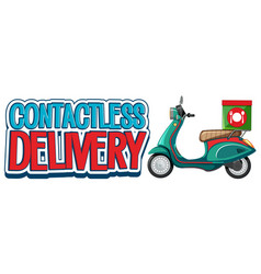 Contactless delivery logo with motorbike vector