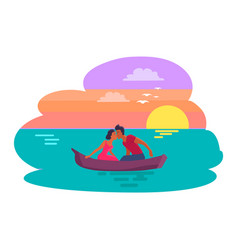 couple sitting in boat kissing vector image