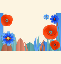 Cut paper floral banner with poppy and cornflower vector