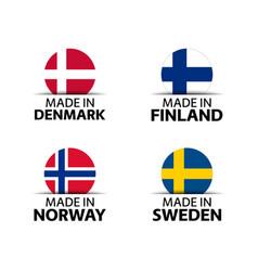 Danish finnish norwegian and swedish stickers vector