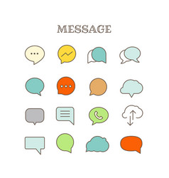 Different speech bubbles thin line color icons set vector