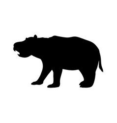 diprotodon silhouette extinct marsupial mammal vector image