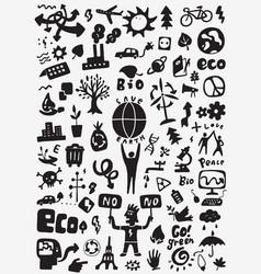 Ecology doodle set vector