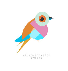 elegant logo design of lilac breasted roller bird vector image