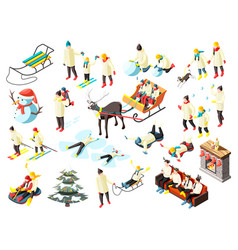 family winter holidays isometric icons vector image