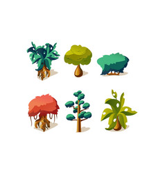 fantasy trees and plants set user interface vector image