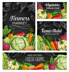 farmer vegetables sketch posters banner vector image