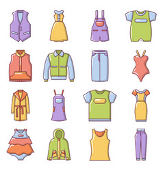 Fashion clothes wear icons set cartoon style vector