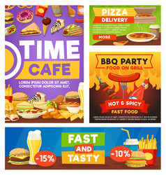 fast food meals bistro restaurant menu vector image