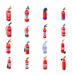 Fire extinguisher icons set isometric style vector