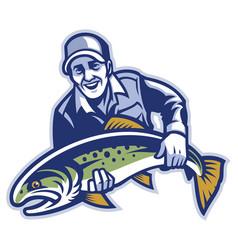 Fisherman hold big trout fish vector
