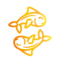 fishes marine life over white background gradient vector image