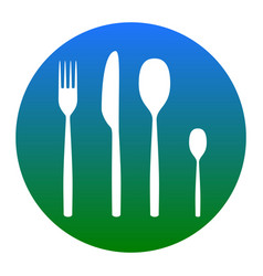 fork spoon and knife sign white icon in vector image