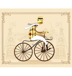 frenchman on retro vintage old bike on old city vector image