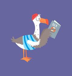 funny seagull reading a book cute comic bird vector image
