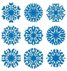 Geometric blue snowflakes set vector image