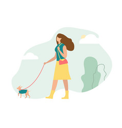 girl is walking with dog vector image