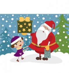 Girl with santa clause vector