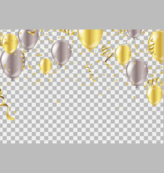 gold and silver balloons confetti vector image