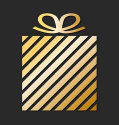 golden gift box from paper ribbon for your design vector image