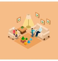 Grandparents With Children Home isometric Banner vector