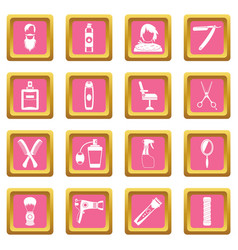 hairdressing icons pink vector image