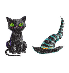 Hand drawn cute black witch cat and old hat vector