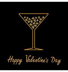 Happy valentines day love card martini glass vector
