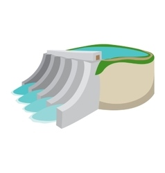 Hydroelectric power station cartoon icon vector