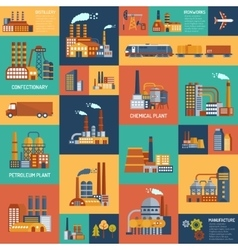 icons set with different types of industrial vector image