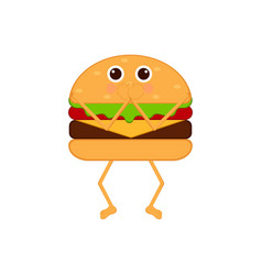 isolated burger emote with hands on mouth vector image