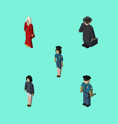 isometric human set of policewoman officer girl vector image