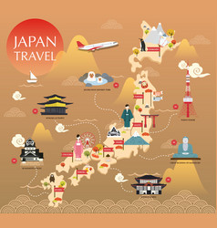 Japan landmark icons map for traveling vector