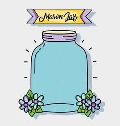 Jar mason rustic style preserve vector
