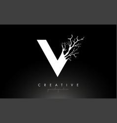 Letter v design logo with creative tree branch v vector