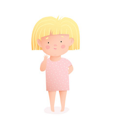 Little baby girl cartoon for kids watercolor style vector