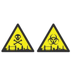 london danger emergency biological hazard signs vector image