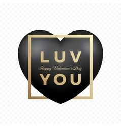 Love You Black Premium Heart on Transparent vector image