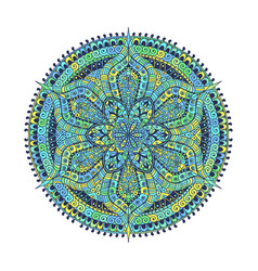 Mandala green blue oriental decorative flower vector
