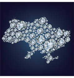 Map of Ukraine made from diamonds vector image vector image