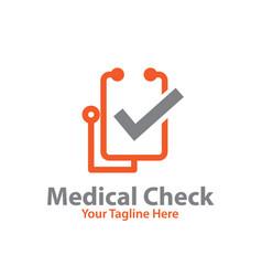 Medical check logo designs vector