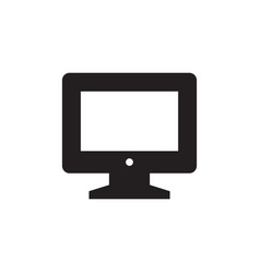 Monitor - black icon on white background vector