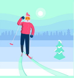 old man skier vector image