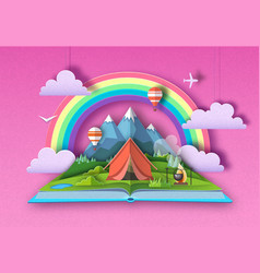 open fairy tale book with mountains landscape vector image